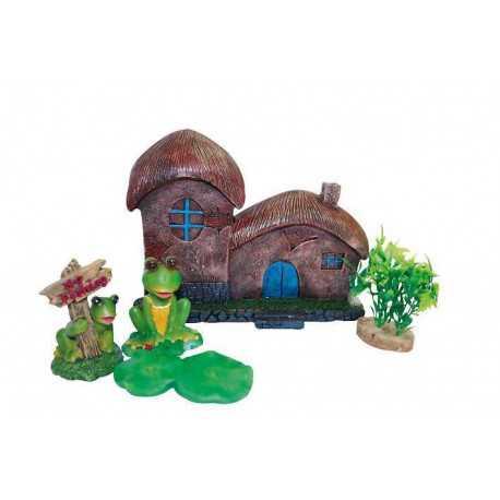 Dekorace domek s rostlinami - set