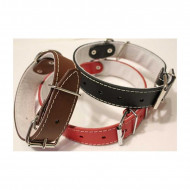 Leather collar beige