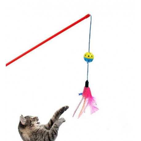 Hračka míč s peřím na špejli 50cm