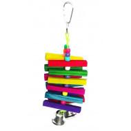Dřevěná hračka se zvonci pro papoušky 22x7cm