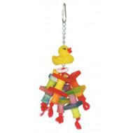 Dřevěná hračka s kačenkou pro papoušky 22x10cm