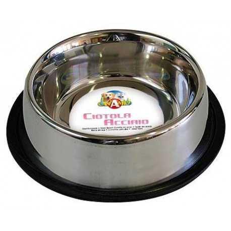 Non-slip stainless steel bowl.