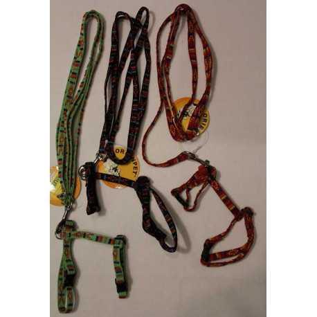 Nylon leash with harness 1x120cm / 1x15-25cm
