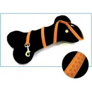 Leather leash orange 1x120cm