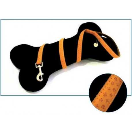 Leather leash orange
