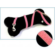 Leather leash pink 1x120cm