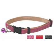Leather collar with bell red 1x21-33cm